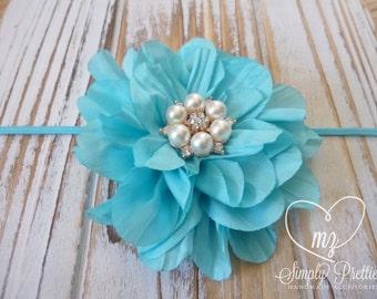 Light Turquoise Headband - Teal Headband - Blue Newborn Headband - Baby Flower Headband - Bubble Gum Pink Flower - Photography Headband Prop