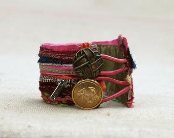 Hipster Bracelet, Gypsy Cuff, Boho Chic, Gypsy Cuff, Fabric Wrist Cuff, Ethnic Jewelry, Textile Jewelry, Eco Friendly Jewelry, Boho Chic