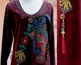 Galabia Embroidered Kaftan, Wine and Gold, Dress Boho, Hippie Dress, Festival Dress, Embroidered Kaftan, Length Dress, Altered Couture