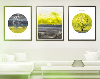Meditation gift print - Breathing in Breathing out - meditation gift -Set of 3