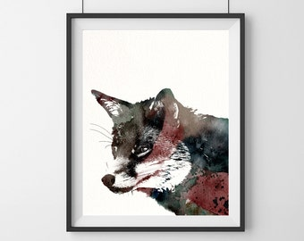 Fox Watercolor Painting - Fox Art - Woodland - Fox Print- Earth tones-Home decor - Fox Gift - Animal Watercolor -Wall Art-58
