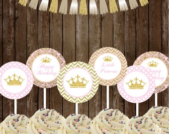 Princess Cupcake Toppers , Royal Princess Party Printable, Princess Toppers favors DIY, INSTANT DOWNLOAD Printable