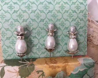 """Decorative stick pins. 2"""". White czech glass pearls. Comes with decorative holder, in pictures."""