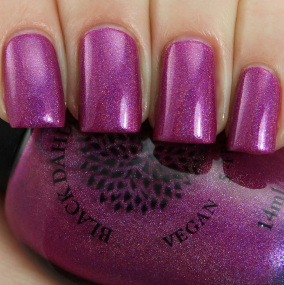 Shimmering Magenta Holo Nail Polish Black Dahlia Lacquer