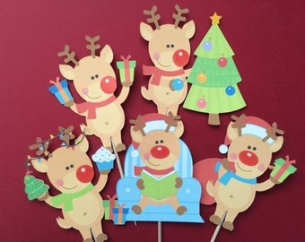 Christmas cupcake toppers, 12 Reindeer toppers, Christmas reindeer toppers, Reindeer cupcake toppers, Rudolph toppers