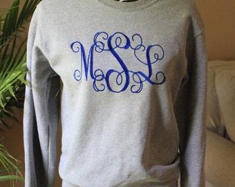 Monogram (large) Crew-neck sweatshirt, initials shirt, sweater
