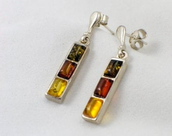 Multicolored Amber Drop Earrings