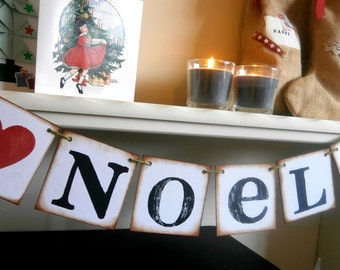 NOEL / Vintage Inspired Christmas Banners/ Holiday Garlands /Christmas Banner/Jul/Weihnachten/Navidad/Natale/Natal/Joulu/Karacsony/Christmas