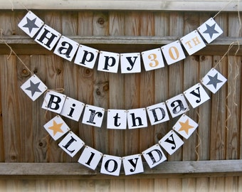 Multi functional Happy Birthday + Number +Name Banner/Birthday Party decoration/birthday sign/personalized birthday banner/birthday bunting/
