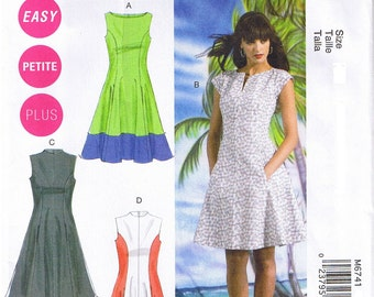 Easy Color Block Fit Flared Sleeveless Dress McCall's 6741 Sewing Pattern Plus Size 18W 20W 22W 24W