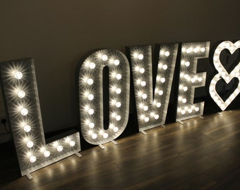 1.1m / 4ft Large Letter Lights in Silver with Clear Cap Lights - High Commercial Quality - Hand Made In Great Britain