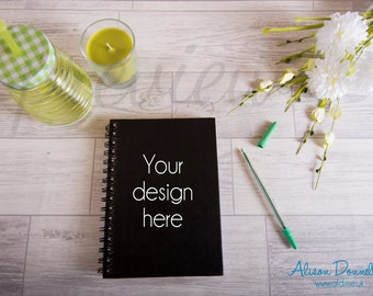 Styled Book Photograph Mock Up, Sketchbook Flat Lay Photo, Book Stock Photo, Product Photography, Styled Mock Up Notebook Mock Up, JPEG PSD