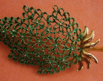 B510) A lovely signed Mamselle vintage large gold tone metal green enamel filigree flower tree brooch