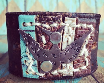 the Pieces of me collection Black Leather Cuff