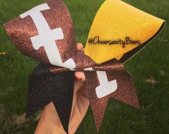 2 tone football cheer bow