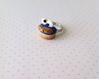 SALE Cookie monster ring, polymerclay