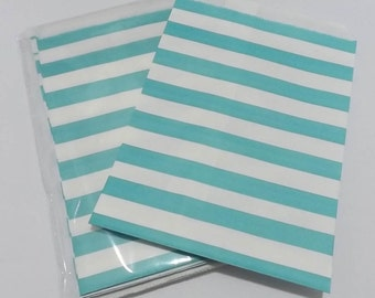 Light Blue and White Striped Favor Bags - Set of 12