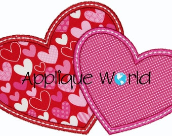 Double Hearts Applique Embroidery-Instant Digital Download Design-Machine Applique Embroidery-Kids Applique Patterns-V-Day hearts Applique.