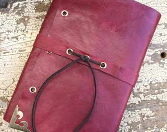 Riveting Red: Leather journal, Handmade