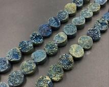 10mm Titanium Agate Druzy Cabochon,Blue Green Druzy Quartz Beads,Flat Round Druzy Beads,Center Drilled Drusy Quartz Gemstone Supplies 20pcs