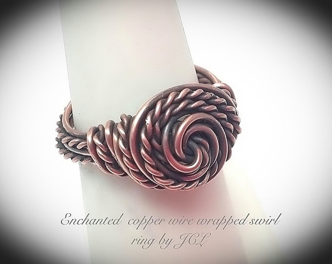 Enchanted copper wire wrapped swirl ring