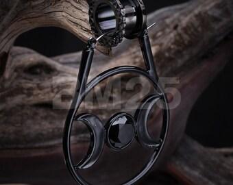 A Pair of Black Moon of Goddess Plug Hoop Earring