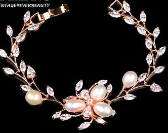 Bridal CZ Pearl Bracelet / bridesmaid gifts / Wedding Bracelet pearls CZ / Gold , Silver Rose Gold