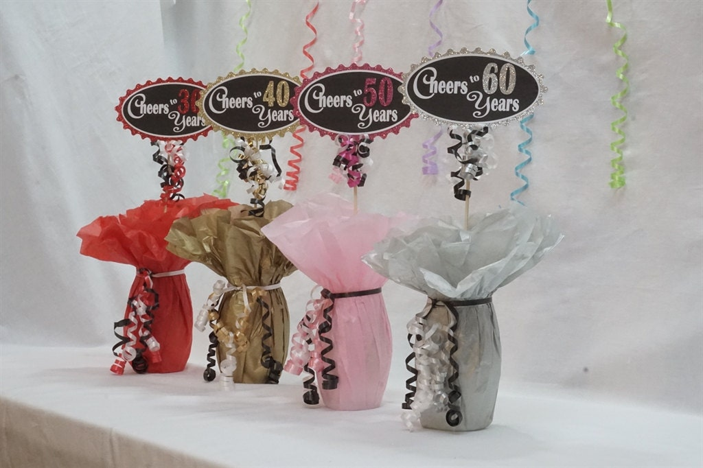 60th Birthday Color Ideas: Cheers To 60 Years 60th Birthday Centerpiece Sign Glitter