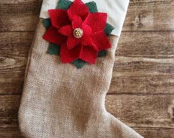 Handmade Burlap Christmas Stockings with Poinsettia Flower, Shabby Chic Stocking, Christmas Stockings