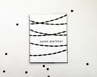 Black n White Streamer Birthday Card