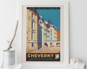 cheverny france travel poster cheverny travel poster france travel poster frame ready art deco poster ikea ribba size wall art
