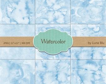 """Blue Digital Paper: """"Blue Watercolor"""" pastel watercolor backgrounds, pastel textures, watercolor digital paper"""