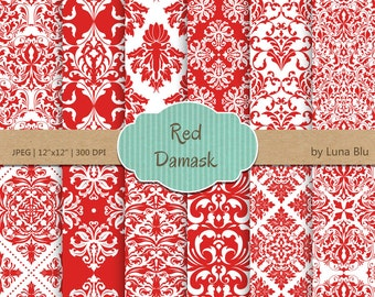 "Red Damask Digital Paper: ""Red Damask Patterns"" red digital paper, for cardmaking, invitations, red scrapbooking paper"