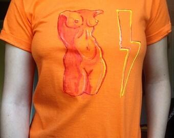 Orange Hand Painted T Shirt Hand Painted Original Art Shirt