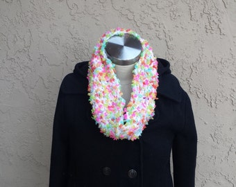 Crochet Cowl Scarf, Colorful Infinity Scarf, Cute Infinity Scarf, Bright Cowl Scarf, Crochet Snood Scarf, Colorful Snood Scarf, Cute Scarf
