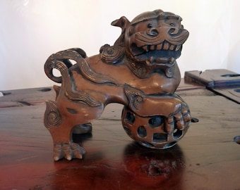 Antique Carved Fu Dog (Shi Shi Lion)