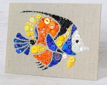 Tropical Fish Button Art, 9x12 Wall Hanging, Beach House Decor, Colorful Fish Wall Art, Button Fish Wall Hanging, Coastal Decor