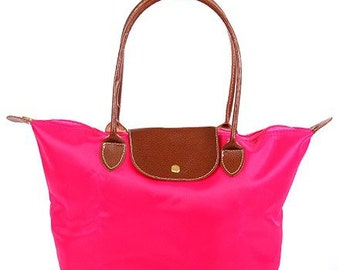 Personalized Fuchsia Solid Leather Handle Medium Foldable Shopping Tote, FREE Monogram & FREE Shipping 810090L-FS