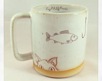 Peekaboo Fishing Cat Mug
