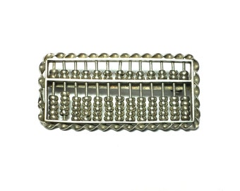 Estate Movable Bead Ancient Abacus .925 Sterling Silver MADFINHK Brooch Pin #1723