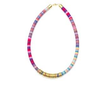 Colorful Textile Necklace, Cotton Necklace, Boho Chic Necklace, Summer Necklace, Rope Necklace, Fabric Necklace, Festival Necklace