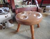 Colonial Style Palomino Vinyl Leather Stool, Naugahyde Stool, Hassock, Ottoman for Your Rockabilly Den