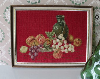 Vintage Red Needlepoint Framed Of Wine And Fruit Picture For Your Tuscany