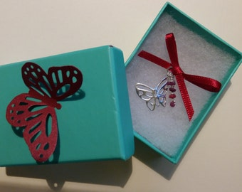 Charm Made From Sterling Silver Butterfly with Genuine Ruby Rondelles