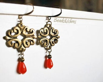 Bronze chandelier earrings with red agate drop pendant