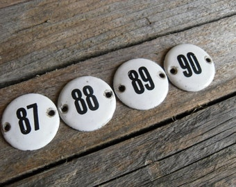 Consecutive Numbers 87-90/4pcs Small Vintage Round black and white enamel plate numbers set for drawers or decoration