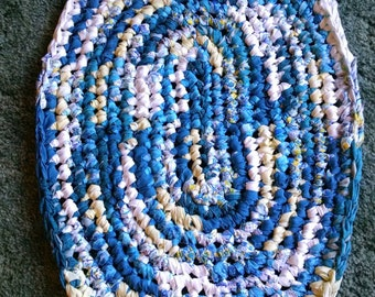 Free Gift with Purchase!  19 x 27 Oval Rag Rug in Yellow, Blues, and White.
