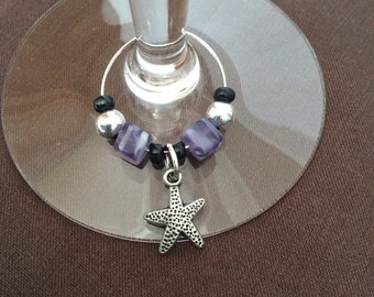 Stemware Charm/starfish Wine Glass Charm/Starfish/Personalized Stemware Charms/Beautiful Jems/Handmade Wine Glass Charms