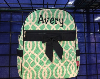 Vine Print Monogrammed Quilted Backpack Mint Green and White with Navy Blue Trim