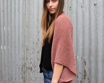 Knitted Wool Shrug - Soft Pink